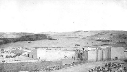 Painted in 1844 shows chapel and long barracks