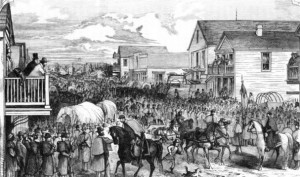 Civil War wood engraving by Thomas Nast is titled Union Troops in the Streets of Indianola, Texas.  It was published in the New York Illustrated News, April 6, 1861.  From the collection of the Calhoun County Museum, Port Lavaca, Texas