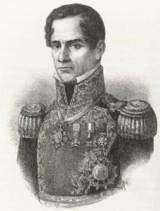 General Santa Anna on a lithograph from 1852.