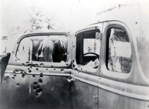 Bullet-riddled car