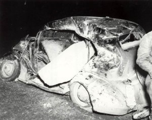 Two-ton concrete block thrown into a nearby car.