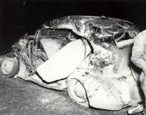 Two-ton concrete block thrown into a nearby car.