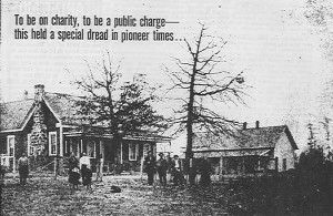 1914 Photo Cass County Poor Farm Right, pauper's and their home, Left is superintendent's family and house with inmates attached dining room.