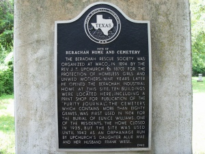 Berachah Home and Cemetery marker, Arlington, TX