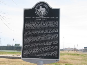 Texas Historical Marker at the former site of the Internment Camp